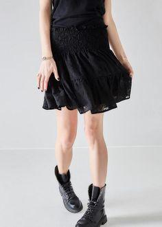 Nederdel sort 171-153 Iman SS17 Embroidery Skirt - black