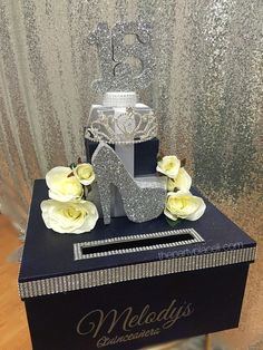 Princess crown with roses card box quince