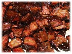 Made from the point of the beef brisket cut burnt ends are a specialty that originates from the Kansas City barbecue scene.