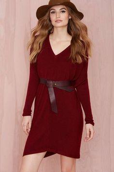 Gabriella Knit Tunic - Burgundy - Dresses