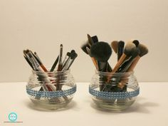 s 32 space saving storage ideas that ll keep your home organized, Use apothecary jars for makeup brushes Diy Makeup Storage, Diy Storage, Jewelry Organization, Home Organization, Storage Ideas, Cheap Storage, Storage Solutions, Dollar Tree Makeup, Dollar Tree Organization