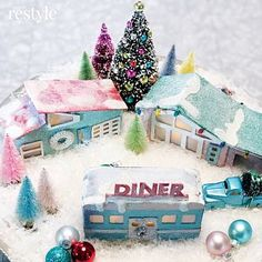 If you like putz houses, you'll love learning how to decorate your own retro diner for your Christmas village with DecoArt dazzling metallics paint. Christmas Village Display, Unique Christmas Trees, Christmas Villages, Modern Christmas, Retro Christmas, Christmas Home, Christmas Crafts, Christmas Decorations, Christmas Stuff
