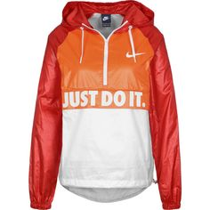 Nike City Packable W Windbreaker orange weiß rot ($67) ❤ liked on Polyvore featuring activewear, activewear jackets, logo sportswear, nike sportswear, nike activewear and nike