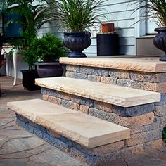 Choose a unique combination of paver styles and colors for an outdoor living area that's all your own. Patio Steps, Brick Steps, Outdoor Steps, Concrete Steps, Concrete Patios, Stone Steps, Outdoor Landscaping, Outdoor Decor, Wall Seating