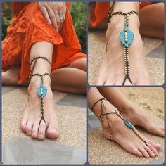 Handmade Leather Leaf Macrame Barefoot Sandal Foot Anklet Thong Hippie Boho
