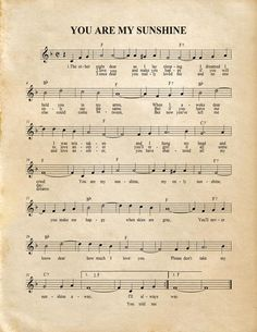You Are My Sunshine Music Artwork Sheet Music Home Decor Clarinet Sheet Music, Violin Music, Free Flute Sheet Music, Free Printable Sheet Music, Trumpet Sheet Music, Drums Sheet, Easy Piano Songs, Easy Piano Sheet Music, Music Sheets
