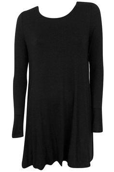 Simple Swing Dress with Pockets - Black #shoppitaya