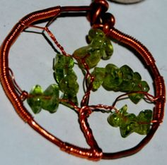 Tree of life copper peridot green pendant | daffydill - Jewelry on ArtFire