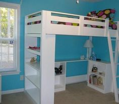 Hailey's room is really small - I wonder if I could take this idea and use her existing bed to give her more space - she has really nice furniture and I don't want to get rid of it - but her room is tiny.  HMMMMMM