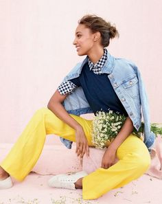 J.Crew women's boy shirt in crinkle gingham, full-length linen pant, cropped denim jacket in cavanal wash and Tretorn® canvas T56 sneakers.