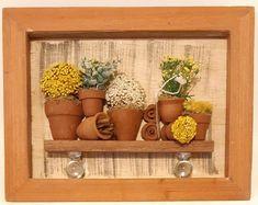 Evandro Junior - Arts and Crafts - Artesanato Box Frame Art, Shadow Box Frames, Home Crafts, Easy Crafts, Arts And Crafts, Diy Bedroom Decor, Diy Home Decor, Pottery Houses, Decoupage Vintage