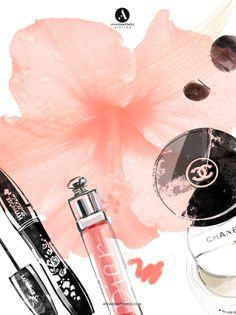 © annaostapowicz.com, #chanel, #dior, #lancome, #makeup, #illustration SPRING MAKE UP - magazine illustration 2014, mixed media