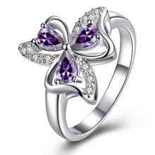 Para mujer anillo del partido de lujo con CZ cristal plateado plata púrpura flor de trébol Rhinestone alianzas de boda anillos de dedo grandes para mujeres(China (Mainland))