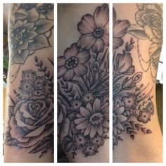 Flower tattoo wrapping around an arm made by Kris Smith. Made at Coastline Tattoo in Provincetown. MA.