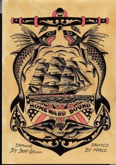 grand classic homeward bound old school tatt .well done Bert and Marco Chest Piece Tattoos, Chest Tattoo, Arm Band Tattoo, Us Navy Tattoos, Sailor Jerry Tattoos, Flash Art Tattoos, Traditional Tattoo Painting, Tatto Old, Bert Grimm