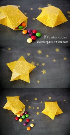 folded stars with candy inside