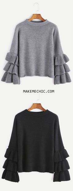 Grey Layered Ruffle Sleeve Pullover Sweater