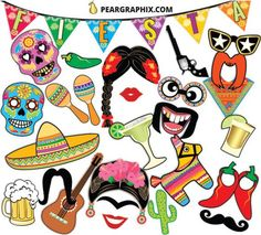 Cinco De Mayo Fiesta Mexicana Photo Booth Props por PearGraphixCom