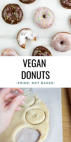 Vegan Donuts - These are super easy to make! They are fried, not baked. Coat them in chocolate, pink glaze or powdered sugar and add sprinkles or coconut flakes. Vegan Dessert Recipes, Delicious Vegan Recipes, Dairy Free Recipes, Desert Recipes, Healthy Desserts, Healthy Recipes, Healthy Chef, Eating Healthy, Vegan Donut Recipe