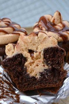 Chocolate -Peanut Butter Stuffed - Hot Fudge Cupcakes