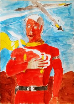 """Inspired by """"Cyborg 009"""" 1979 anime and the face inspired by actor Mads Mikkelsen - Cyborg 004 Albert Heinrich. Art by Emiliano D'Alessandri."""