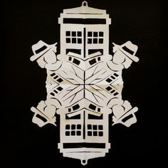 The Doctor snowflake - gotta figure out how to make this one! Cardboard Crafts, Paper Crafts, Doctor Who Christmas, Paper Snowflakes, Kids Artwork, Snowflake Designs, Paper Models, Little Christmas, Christmas Projects