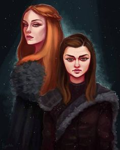 NGL I'm sooo excited for Game of Thrones coming back! I've been working on these portraits VERY here-and-there for far too long. The Three Eyed Raven Arte Game Of Thrones, Game Of Thrones Funny, Sansa Stark, Stark Girls, Game Of Thrones Wallpaper, Real Madrid, Game Of Trone, Sisters Art, Got Memes