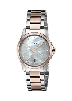 Gucci Women's 'G-Timeless' Quartz Stainless Steel Automatic Watch, Color:Silver-Toned (Model: YA126544) - Swiss Made, ETA quartz movement; Sapphire with anti-reflective coating inside; Analog-quartz Movement; Case Diameter: 27mm; Water Resistant To 50m (165ft: in General, Suitable for Short Periods Of Recreational Swimming, but not Diving or Snorkeling.(affiliate link)