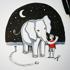 Inktober 2018 / elephant / circus inktober Traditional Art, Inktober, Elephant, Sad, My Arts, Snoopy, Drawings, How To Make, Fictional Characters