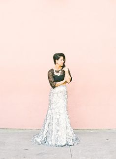 This fashion-forward bride went in the opposite direction of traditional for her bridal portraits Rehearsal Dinner Attire, Silver Sequin Skirt, Erin Gray, Alternative Wedding Dresses, Mother Of Groom Dresses, Groom Poses, Bridal Portraits, Lace Skirt, Bride