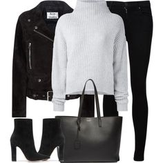 A fashion look from December 2016 featuring Le Kasha sweaters, Acne Studios jackets and Citizens of Humanity jeans. Browse and shop related looks. Mode Outfits, Fall Outfits, Fashion Outfits, Womens Fashion, Cute Casual Outfits, Stylish Outfits, Fall Fashion Trends, Autumn Fashion, Capsule Wardrobe Mom