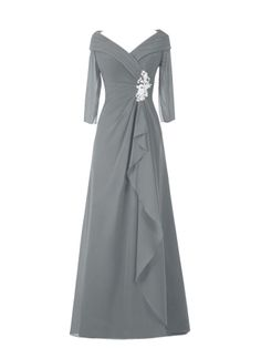 3145c32d97b Floor-Length Long Sleeve Beading A-Line Mother of the Bride Dress  Bridesmaid Dresses