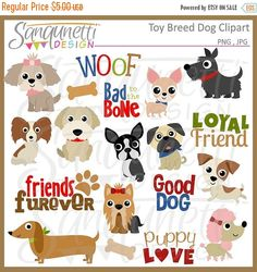 50% OFF SALE Toy Dog Breed Clipart, Puppy Clipart, Pet Clipart, Poodle Clipart, Yorkie Clipart, Chihuahua Clipart, Shih Tzu Clipart, Pug Cli