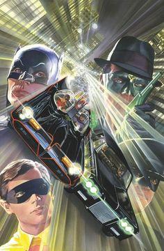 Comic - Batman Meets The Green Hornet (Alex Ross Cover) Comic Book Artists, Comic Book Characters, Comic Book Heroes, Comic Artist, Comic Character, Comic Books Art, Dc Heroes, Batman 1966, Im Batman