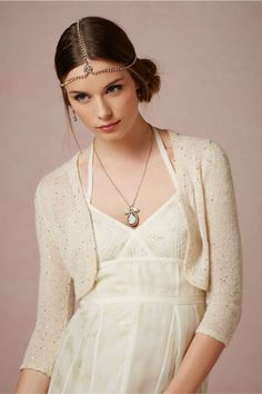 oh my god, i can wear a cardigan on my wedding day? yesssssssss. Gold Dust Topper at BHLDN