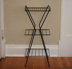 Vintage Wire Stand Retro Metal Plant Stand by by NineStarVintage