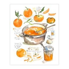"""Marmalade recipe print. Archival giclee reproduction print from watercolor illustration. Signed with pencil. Printed on fine art """" BFK Rives """" hot-pressed paper, smooth surface, 140 lb, 100% cotton (a"""