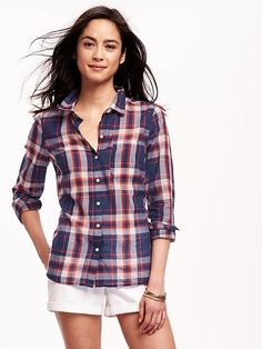 Classic Plaid Shirt for Women Product Image
