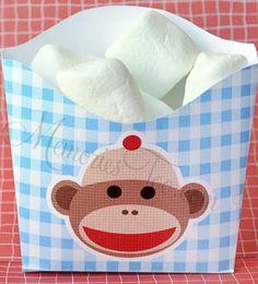 Sock Monkey Party Printable French Fry treat box