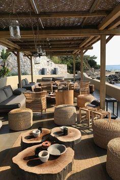 Six Senses Kaplankaya, Turkey Outdoor Restaurant Patio, Deco Restaurant, Outdoor Cafe, Restaurant Ideas, Terrace Design, Cafe Design, Deco Boheme Chic, Beach Cafe, Restaurant Interior Design