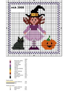Little witch with cat and pumpkin graph