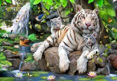 Howard Robinson, artist ~ white tiger mom & cubs