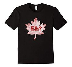 Men's Eh canada shirt canada day tshirt canadian red maple leaf Large Black