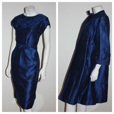 Vintage 50s 60s orignal 2 piece suit wiggle dress jacket blue silk wedding 8 10