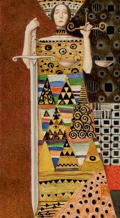 XI. Justice: Golden Tarot of Klimt