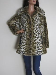 Vintage 1970s-1980s Astraka Leopard Print Faux Fur Coat available to buy online at Virtual Vintage Clothing