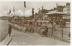 Weymouth The Esplanade Real Photo Vintage Postcard Used 1937