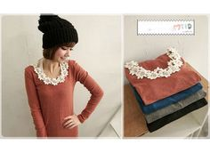 NEW Womens Japanese Korean Fashion Style Flower Cotton Lace Long Sleeve Top Tee   eBay