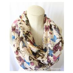 LISTING‼️ Butterfly Infinity Scarf This infinity scarf is a conversation piece on its own! Very cute, lightweight and versatile. 100% Polyester. Light tan in color. DIRECT FROM VENDOR, NEW WITHOUT TAG Accessories Scarves & Wraps