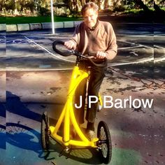 John Perry Barlow took his Alinker on the first trip out to Panhandle Park in San Francisco! John Perry Barlow, Adult Tricycle, Grateful Dead, San Francisco, Bike, Park, Shopping, Bicycle, Bicycles